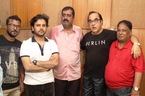 Music Director Raja Ali,Singer Javed Ali,Producer Mukesh Malhotra,director Sandeep Kumar,Lyecist Saani Aslam at recording of film 'Rehemdil Kaatil', Andheri,Mumbai