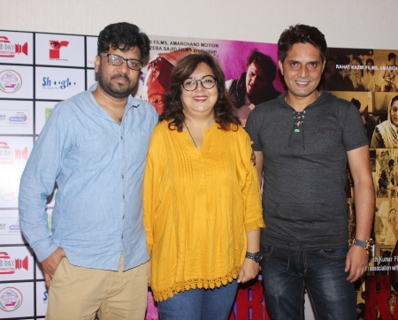 Producers Sanjay Amar & Zeba Sajid with Director Rahat Kazmi at the trailer launch of their film Rabbi to release on 15th Sept 2017
