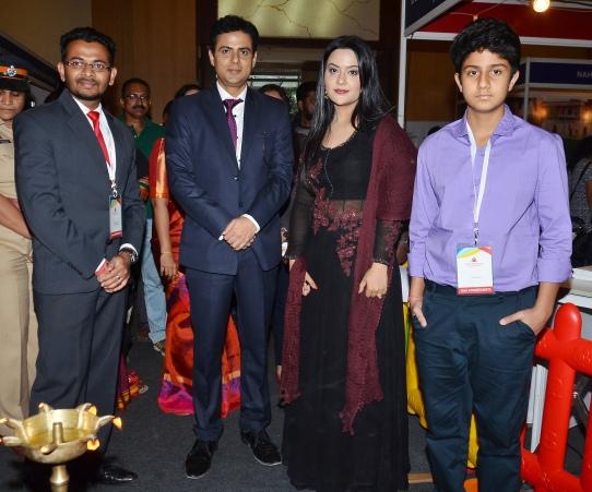 Akash Jadiya, Pawan Shankar, Amruta Fadnavis and Devasya Shankar at the Educationista's Prestigious Schools Exhibition at Bombay Exhibition Centre, NESCO