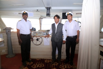 Captain along with Marine Engineer and Owner Sanjeev Agarwal and 1st Officer of Mumbai Maiden cruise ship.-1